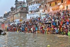 Indian People in Holy Varanasi stock image