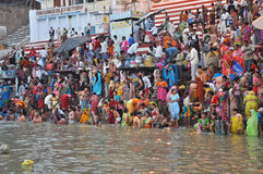 Indian People in Holy Varanasi royalty free stock images