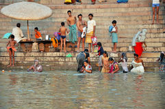 Indian People in Holy Varanasi stock photo
