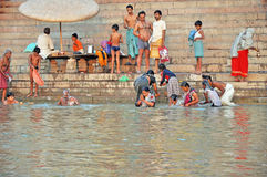 Indian People in Holy Varanasi stock photography