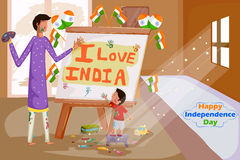 Indian people painting Happy Independence Day of India Royalty Free Stock Photo