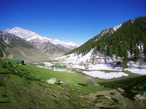 Sonmarg in kashmir India. Snow and greenery at sonmarg of Kashmir in India Stock Photos