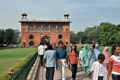 Indian People in the Red Fort, Old Delhi. stock photography