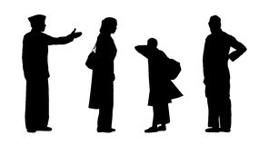 Free Indian People Standing Silhouettes Set 2 Stock Images - 39699154
