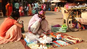 Indian people at street market stock footage