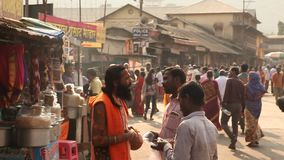 Indian people at street market stock video