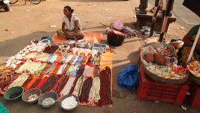 Indian people at street market stock video footage