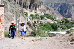 Indian people on the streets of iruya on the Argentina andes Stock Photography