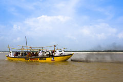 The Indian people take a boat ride on the Ganges Stock Photos