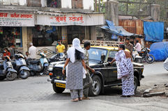 Indian People Take Taxi Stock Photos