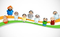 Indian People on Tricolor Dlag. Vector illustration of Indian people of different culture on Tricolor Flag Stock Images
