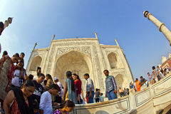 Indian people visit Taj Mahal Royalty Free Stock Photos