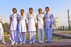 Indian people visit Taj Mahal in India Stock Photo