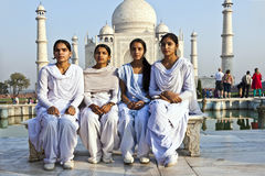 Indian people visit Taj Mahal in India Royalty Free Stock Images