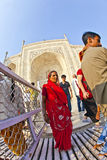 Indian people visit Taj Mahal in India Stock Photography