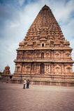 Indian people visiting and praying at Brihadeeswarar Temple. India, Tamil Nadu, Thanjavur (Trichy) Stock Photo