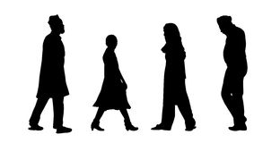 Indian people walking silhouettes set 6 Royalty Free Stock Image