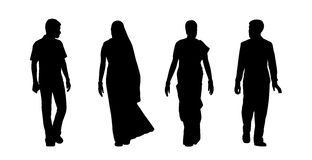 Indian people walking silhouettes set 5 Royalty Free Stock Photos
