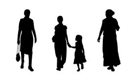 Indian people walking silhouettes set 4 Royalty Free Stock Image