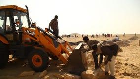 Indian People working in desert stock video footage