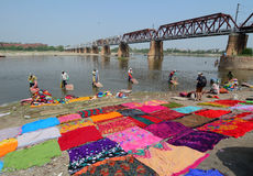Indian people working on the river in Agra, India Royalty Free Stock Images