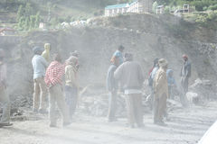 Indian people working at road construction Royalty Free Stock Photo