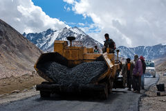 Indian people working at road construction Royalty Free Stock Images