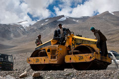 Indian people working at road construction Stock Image