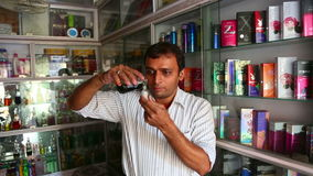 Indian perfumer stock video footage
