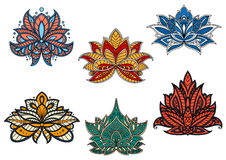 Indian and persian ethnic paisley flowers Stock Photography