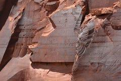 Indian Petroglyphs. Petroglyphs on a rock wall face along the Potash-Lower Colorado River Scenic Byway (U-279) near Moab, Utah, USA Royalty Free Stock Photo