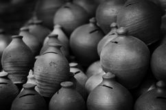Indian piggy banks made of mud Royalty Free Stock Photography