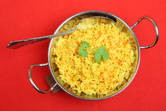 Indian Pilau Rice. In a balti serving dish Royalty Free Stock Image