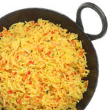 Indian Pilau Rice. In black steel balti serving dish Stock Photos
