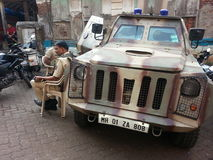 Indian police force. On the streets of Mumbai Royalty Free Stock Photo