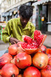 Indian Pomegranate Vendor Stock Images