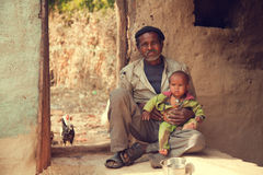 Indian poor father and son Royalty Free Stock Photos