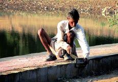 An indian poor mason laborer Stock Photos