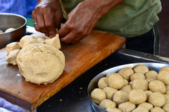 Indian poori preparation Stock Image