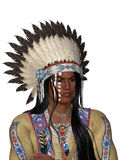 Indian Portrait. Face indian with war bonnet - isolated on white Royalty Free Stock Photos