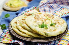Indian Potato stuffed Flatbread Stock Images