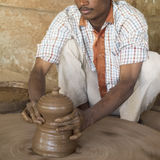 Indian potter working Royalty Free Stock Photography