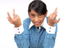 Indian pretty girl showing gesture withhands Royalty Free Stock Photos