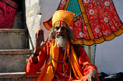 Indian priest monk Royalty Free Stock Images