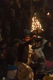Indian priest performs religious Ganga Aarti ceremony or fire puja at Dashashwamedh Ghat in Varanasi. Uttar Pradesh Royalty Free Stock Image