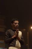 Indian priest performs religious Ganga Aarti ceremony or fire puja at Dashashwamedh Ghat in Varanasi. Uttar Pradesh Stock Images