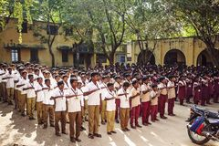 Indian Public school, children in school uniforms greeting new day royalty free stock photography