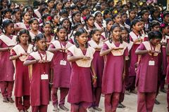 Indian Public school, children in school uniforms greeting new day stock photo