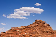 Indian Pueblo Ruins. A wall section of the Wupatki pueblo ruins at Wupatki National Monument in Arizona Royalty Free Stock Images