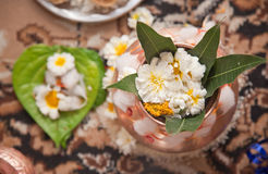 Indian Puja and flowers Stock Photography